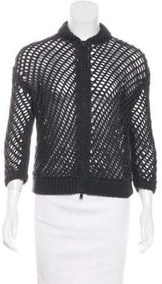 Brunello Cucinelli Zip-Up Open-Knit Jacket