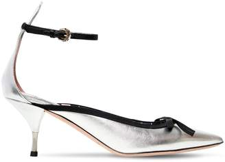 60mm Metallic Leather Pumps W/ Bow