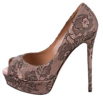 Valentino Lace Peep-Toe Pumps