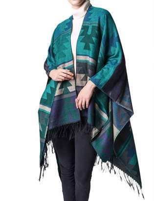 R & E XXXITICAT Women's Plaid Pattern Wrap Shawl Cardigan Poncho Cape(RE)