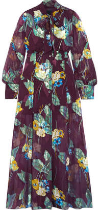 Anna Sui Blithe Spirit Fil Coupé Silk-blend Chiffon Midi Dress - Burgundy