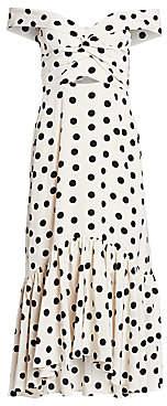 Johanna Ortiz Women's Off-Shoulder Polka Dot Print Midi Dress