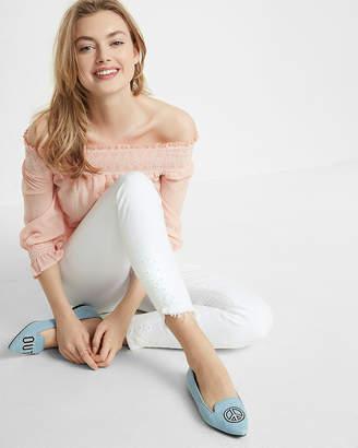 Express White Mid Rise Eyelet Detail Stretch Ankle Jean Leggings