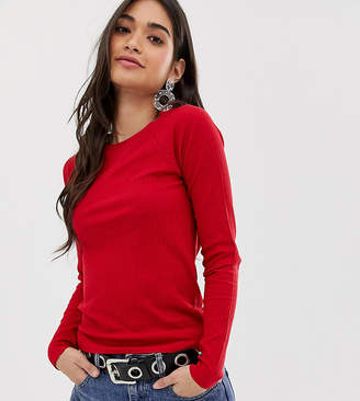 Brave Soul Petite selina long sleeve top in rib