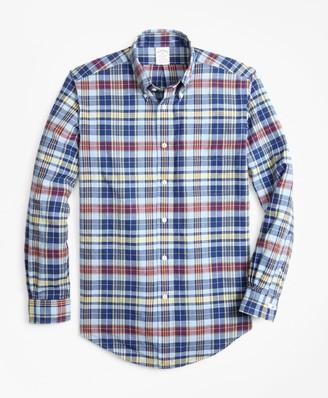 Brooks Brothers Regent Fit Blue Madras Sport Shirt