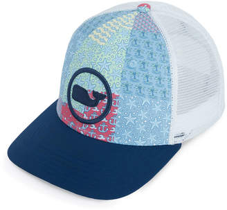 Vineyard Vines High Profile Flat Brim Patchwork Trucker Hat
