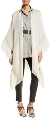 Brunello Cucinelli Open-Front Linen-Lurex®; Poncho with Feather Cuff
