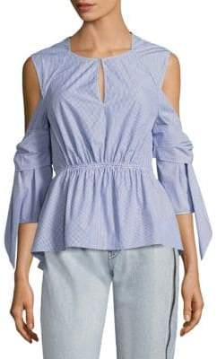 3.1 Phillip Lim Striped Cold-Shoulder Peplum Shirt