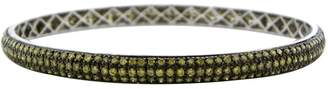 Natural Green Diamond Bangle One of a Kind Pave Set in 18k White Gold