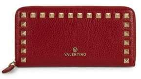 Mario Valentino Grace Studded Zip-Around Leather Wallet