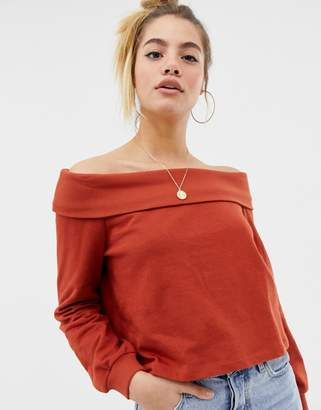dfbaae6fbbd0b8 Asos Design DESIGN off shoulder sweatshirt with foldover in rust