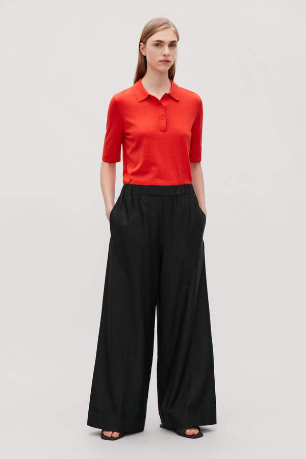 Cos COTTON-SILK WIDE-LEG TROUSERS