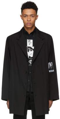 Yohji Yamamoto Black Embroidered Face Coat