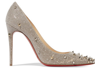 Christian Louboutin - Degraspike 100 Spiked Canvas Pumps - Silver $995 thestylecure.com