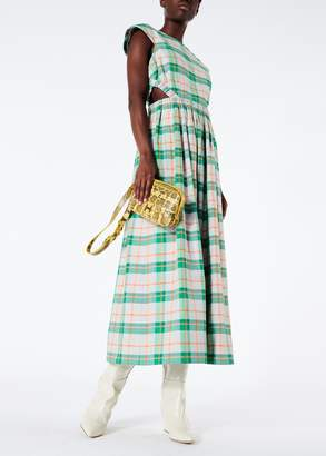 Tibi Hani Plaid Cap Sleeve Long Dress