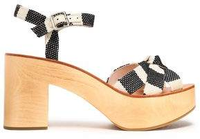 Loeffler Randall Knotted Striped Canvas Platform Sandals