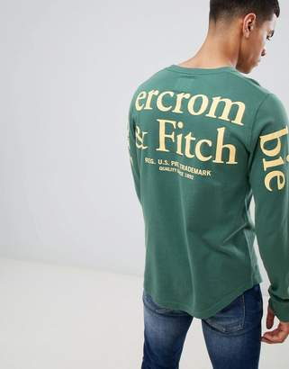 Abercrombie & Fitch pocket logo back & sleeve print long sleeve top in green