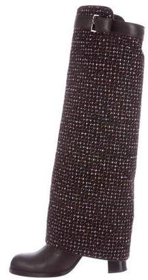 Chanel Tweed Overlay Boots