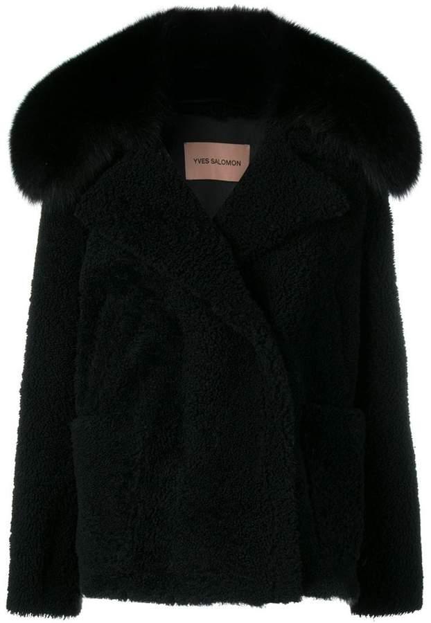 detachable fox fur collar jacket