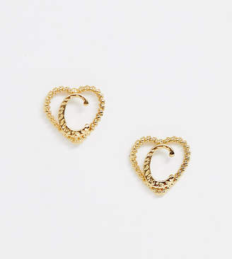 Reclaimed Vintage inspired gold plated C initial earrings