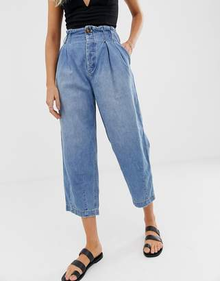 Free People pleated high rise carrot jeans