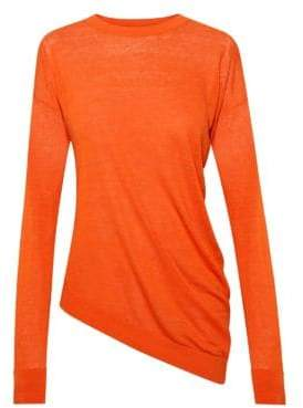Theory Women's Sag Harbor Asymmetric Long-Sleeve Top - Coral - Size XS