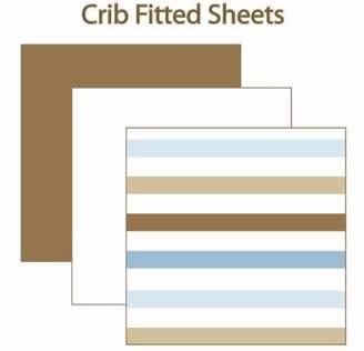 Bacati MOD Diamonds/stripes Aqua/chocolate 2 pcs Crib Sheet Set