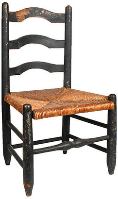 One Kings Lane Vintage Black Painted Rush Seat Child's Chair - N.P.Trent Antiques