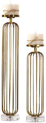 Uttermost Cesinali Antique Gold Candleholders, Set of 2