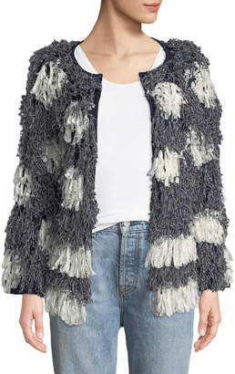 Neiman Marcus Tabula Rasa Kayes Pattern Long-Sleeve Fringe Jacket