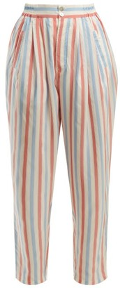 Thierry Colson Sam Striped Silk Trousers - Womens - Red Stripe