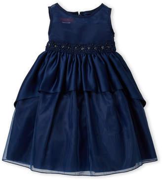 Princess Faith (Girls 4-6x) Navy Beaded Waist Organza Dress