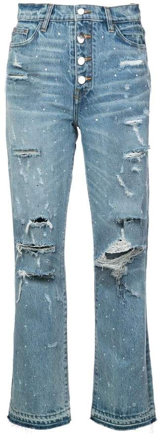 crystal studded straight jeans