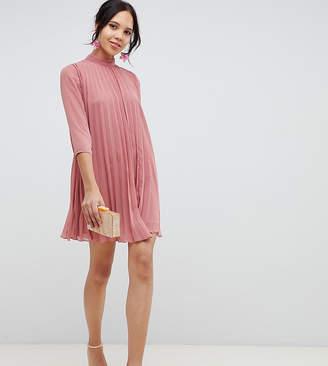 Asos Tall DESIGN Tall pleated trapeze mini dress