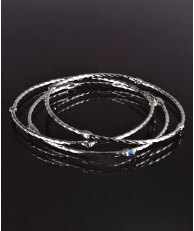 Marcia Moran set of 3 - silver and crystal rope twisted bangles