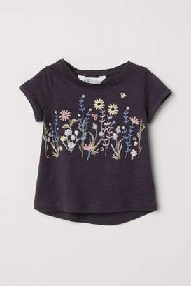 H&M Jersey Top with Appliques - Blue