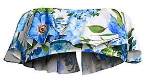 Milly Women's Rose-Print Ruffle Bandeau Bikini Top