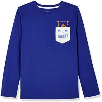 A for Awesome Boys Long Sleeve Pocket Tee with Robot Graphic
