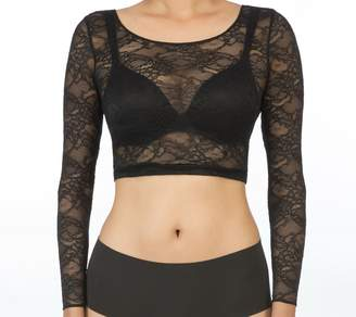 Spanx Sheer Fashion Long Sleeve Crop Top