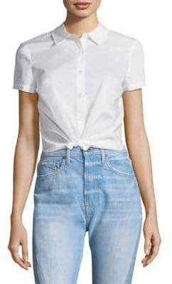 Frame Shrunken Short-Sleeve Cotton Shirt