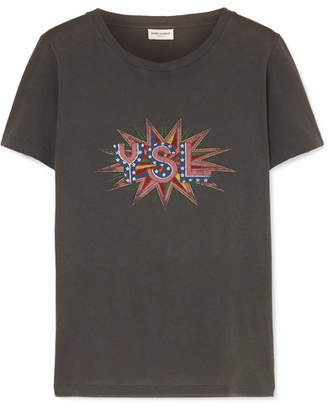 Saint Laurent Distressed Printed Cotton-jersey T-shirt - Dark gray