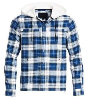 Madison Supply Plaid Cotton Flannel Hooded Shirt