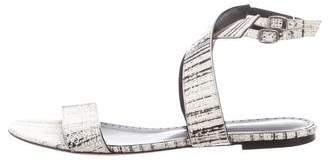 Alexa Wagner Snakeskin Ankle Strap Sandals