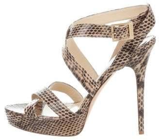 Jimmy Choo Vamp Snakeskin Sandals
