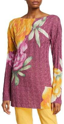 Etro Floral Metallic Cable Knit Tunic