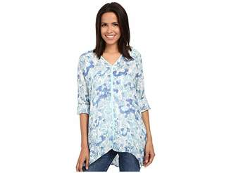 Miraclebody Jeans Shea Waterlily Print Tunic w/ Body-Shaping Inner Shell Women's Blouse