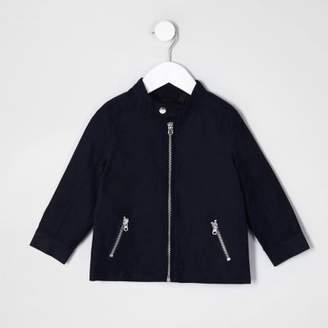 River Island Mini boys navy blue racer neck jacket