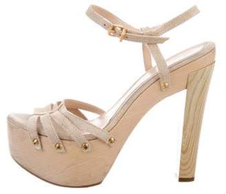 Fendi Platform Suede Sandals