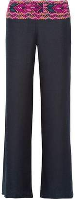 Figue Chanda Embroidered Silk-Blend Canvas Wide-Leg Pants