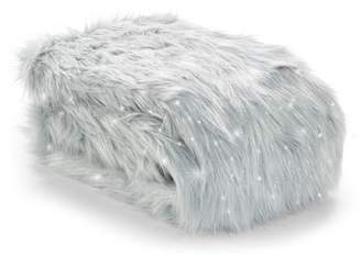 Catherine Lansfield Metallic Faux Fur Throw - Grey